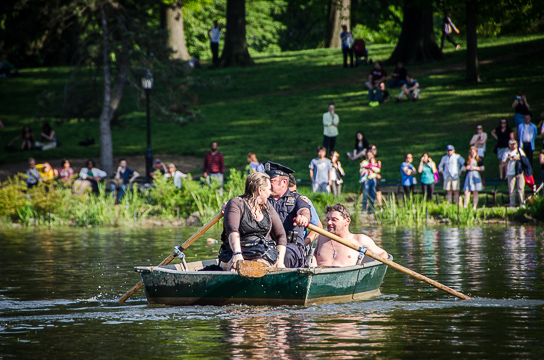 Boat rescue in Central Park Lake
