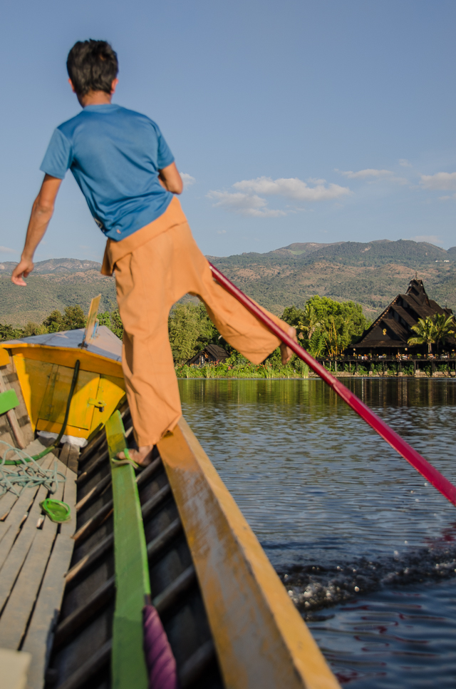 one legged rower in inle lake, myanmar
