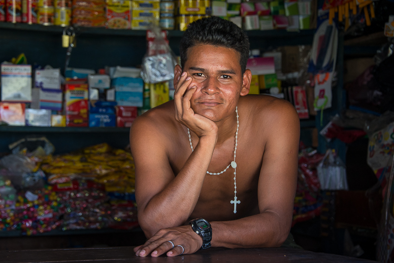 Juio in a family run store in the remote village of Siksayati on the Rio Coco in Nicaragua