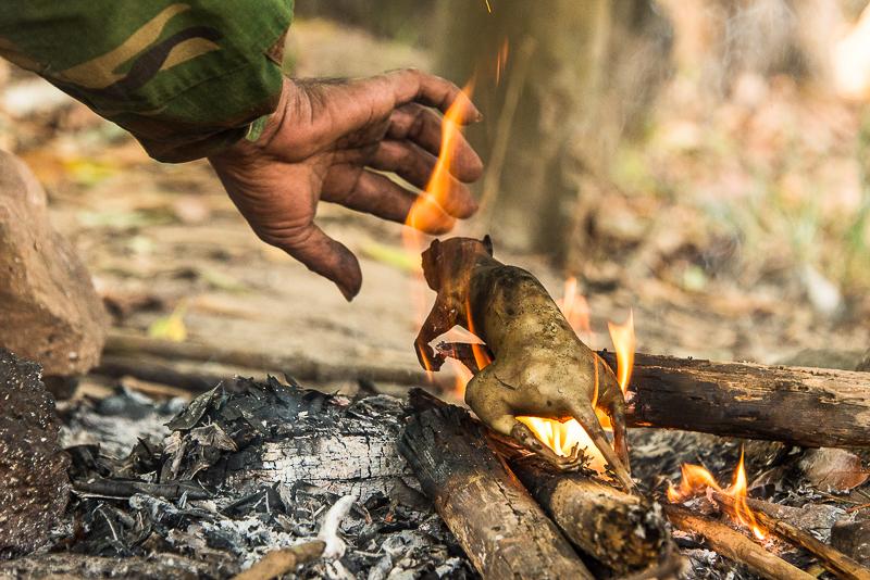 man cooking squirrel in Cambodia